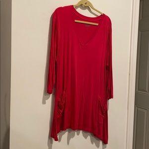 LOGO red or pink long shirt w pockets